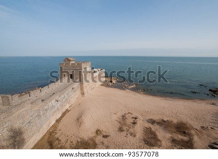 Laolongtou Great Wall  (Old Dragon's head) starting point of the Ming Dynasty (1368-1644) Great Wall of China, Hebei province China - stock photo