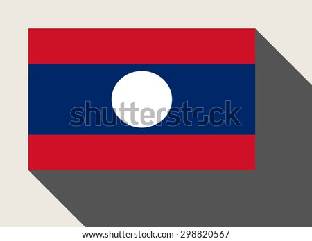 Laos flag in flat web design style. - stock photo
