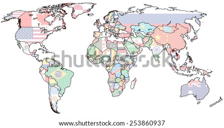 laos flag on old vintage world map with national borders - stock photo
