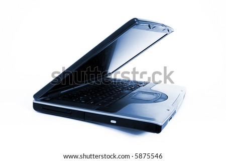 Lap top computer.Blue toning. - stock photo
