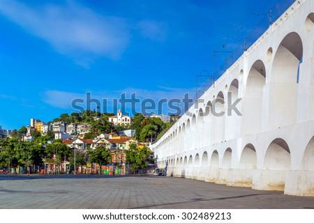 Lapa Arch (Arcos da Lapa) in Rio de Janeiro, Brazil - stock photo