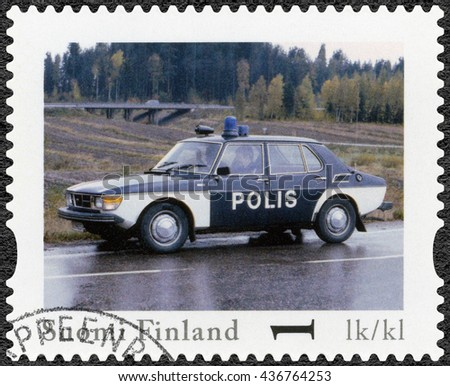 LAPPEENRANTA, FINLAND - AUGUST 12, 2013: A stamp printed in Finland shows Saab 99 GL, series Finland Official Vintage Police Car - stock photo