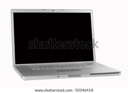 Laptop,aluminum,isolated wth paths - stock photo