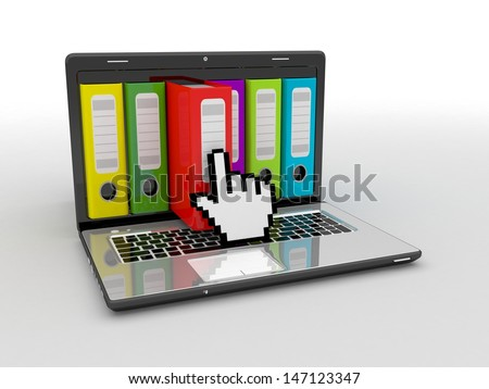 Laptop and archive folders - stock photo