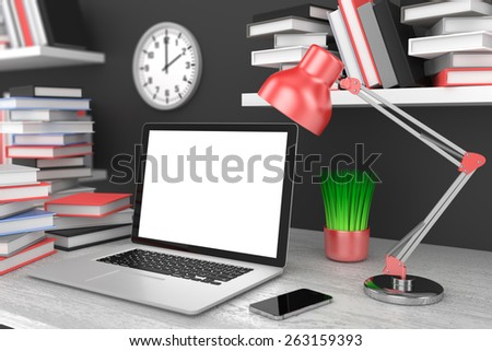 laptop and books, Workspace, 3d render - stock photo
