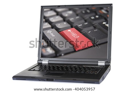 Laptop and button help, keyboard help button, closeup, clipping path - stock photo