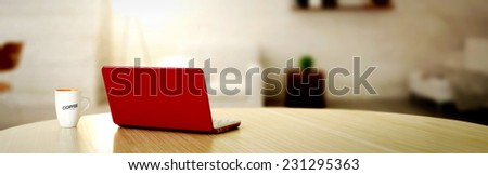 laptop and coffee cup - stock photo