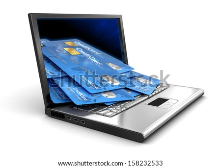 Laptop and Credit Cards (clipping path included) - stock photo