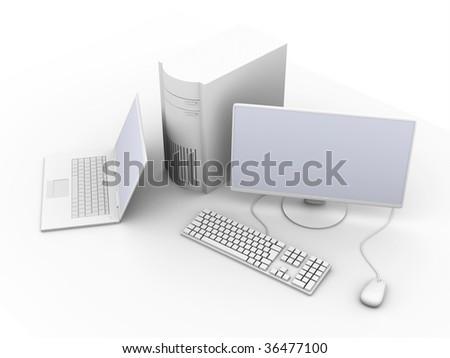 Laptop and Desktop PC - stock photo