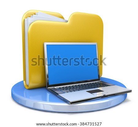 laptop and file folder in the design of the information related to the transfer of data - stock photo
