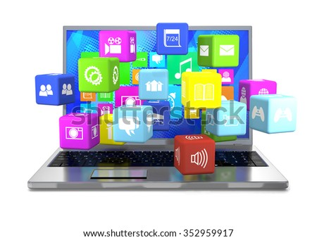 Laptop and flying cubes with icons on white background. - stock photo