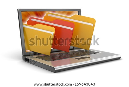 Laptop and Folders (clipping path included) - stock photo