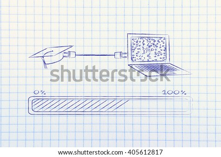 laptop and graduation cap connected by plug, with messy binary code being processed on the screen - stock photo