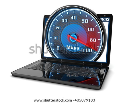 Laptop and internet speed (done in 3d)    - stock photo
