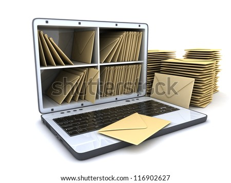Laptop and many mail (done in 3d) - stock photo