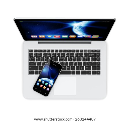 Laptop and mobile smartphone with space dawn wallpaper and apps on a screen. Earth texture of this image furnished by NASA - stock photo