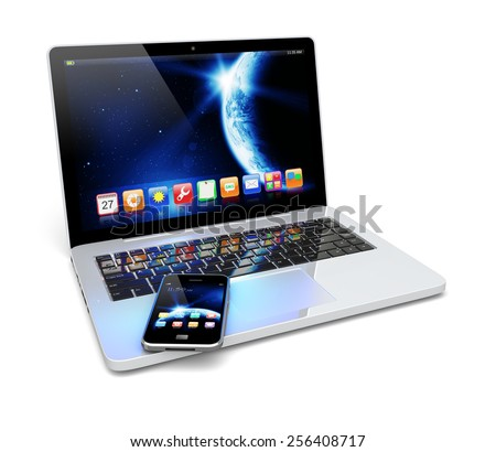 Laptop and mobile smartphone with space dawn wallpaper and apps on a screen. The Earth texture of this image furnished by NASA.   - stock photo