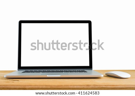 laptop and mouse isolated on desk with clipping path, Blank white space on the screen. - stock photo