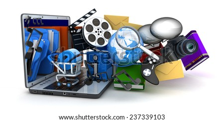 Laptop and multimedia (done in 3d) - stock photo
