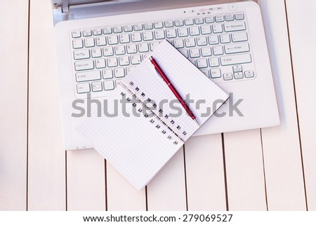 laptop and notebook - stock photo