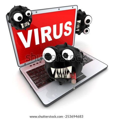 laptop and sign virus (done in 3d) - stock photo