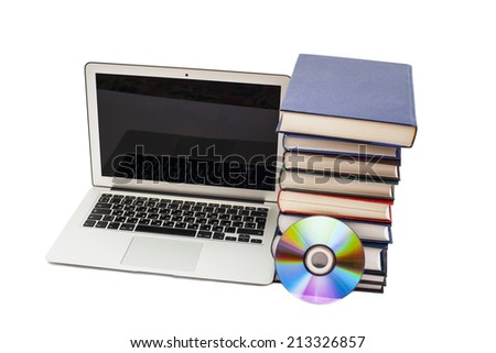 Laptop,books and CD  - stock photo