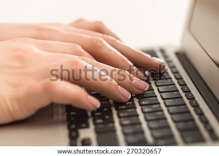 Laptop, closeup, input. - stock photo