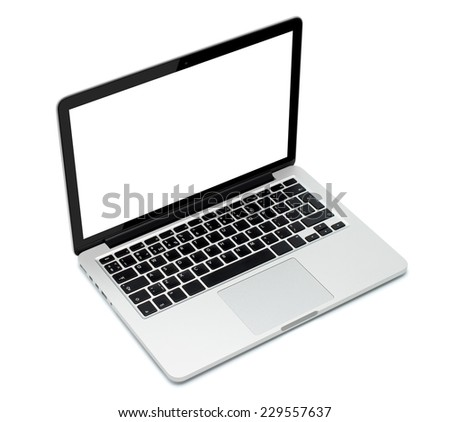 Laptop closeup on white background - stock photo