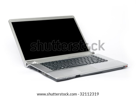 Laptop computer against white background - stock photo