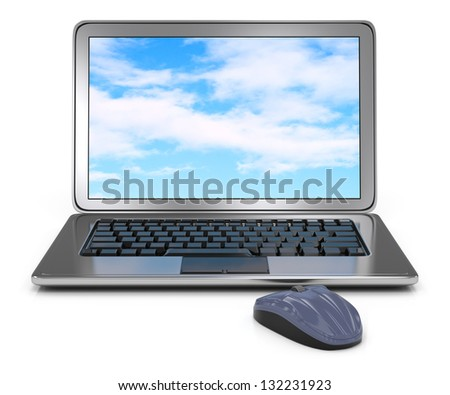 laptop computer and mouse isolated on white. 3d rendered image - stock photo