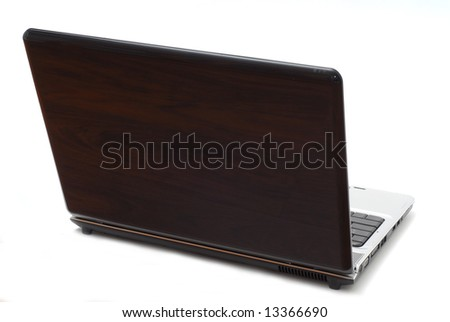 Laptop computer back side studio isolated on white background - stock photo
