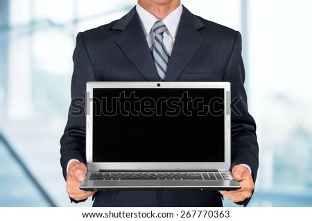Laptop, Computer, Holding. - stock photo