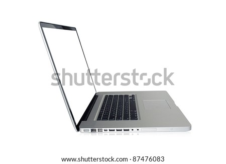 Laptop computer isolated on white (path in side) - stock photo