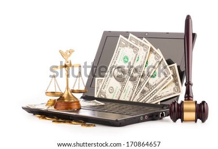 laptop computer keyboard  money and gavel - stock photo