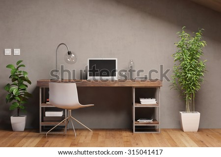 Laptop computer with empty black monitor on a desk in office (3D Rendering) - stock photo