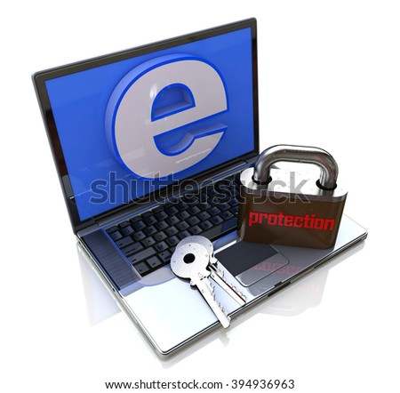 Laptop Computer with lock - Internet protection in the design of the information related to data security - stock photo