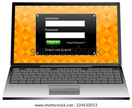 Laptop Computer with Login screen - stock photo