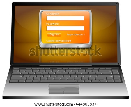 Laptop Computer with Login Screen - 3D illustration - stock photo