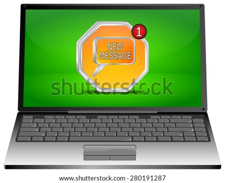 Laptop computer with new Message Button - stock photo