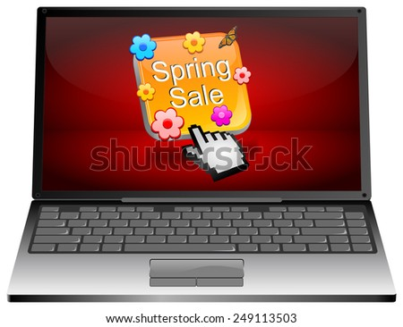 Laptop computer with spring sale button - stock photo