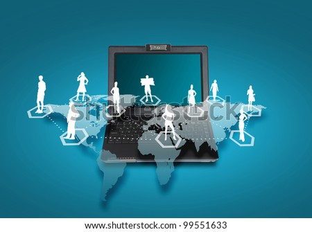 Laptop computer with symbols communication - stock photo
