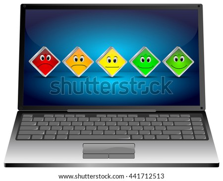 Laptop Computer with Voting Buttons - 3D illustration - stock photo