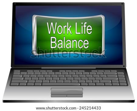 Laptop computer with Work Life Balance button - stock photo