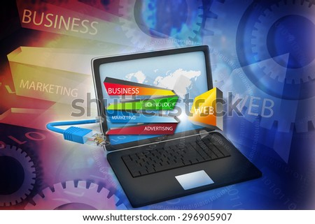 Laptop connected to internet cable, internet technology background   - stock photo