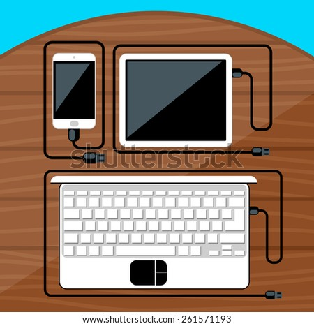 Laptop, digital tablet, smartphone with usb cables ready for connection and work on wood table flat design. Raster version - stock photo