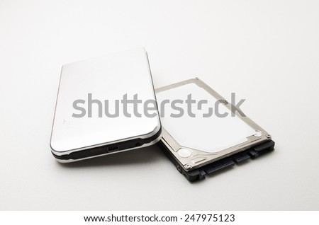Laptop Hard Disk Drive with external casing. All information about the hard disk was removed. Focus on the closes distance. - stock photo