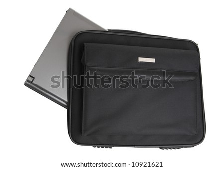 Laptop in bag isolated on white - stock photo