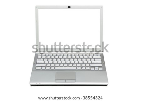 laptop in front isolated with clipping path over white background - stock photo