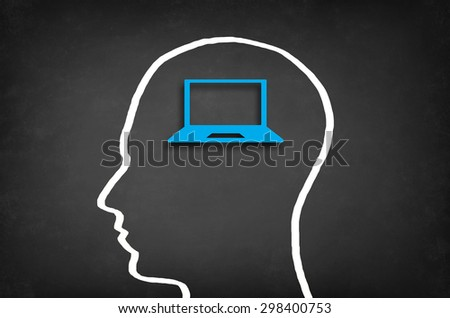 Laptop in head. Modern wireless technology and social media concept. - stock photo