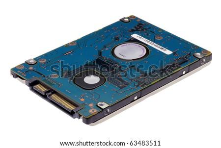 Laptop 2.5 inch SATA harddisk isolated on a white background - stock photo